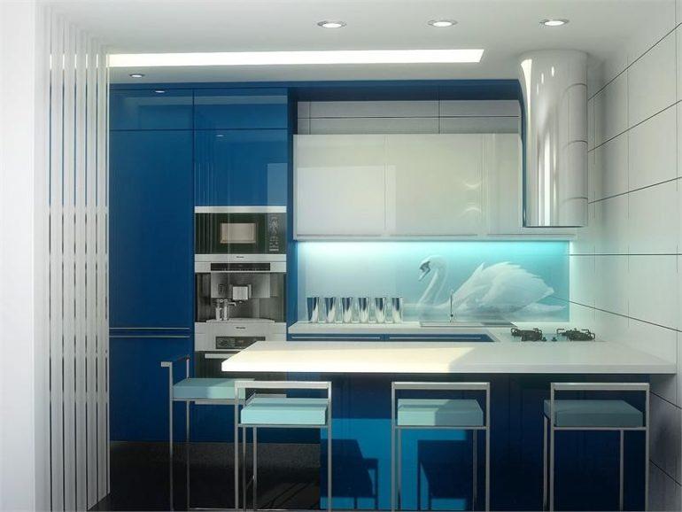 Акриловый фасад и лебеди на стеклянном фартуке