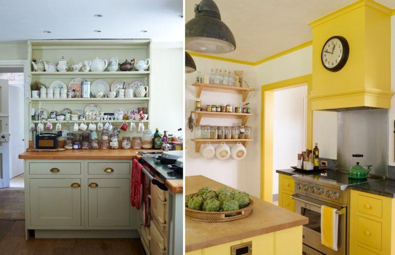 Разнообразить интерьер кухни помогает выставленная на показ посуда и настенные часы
