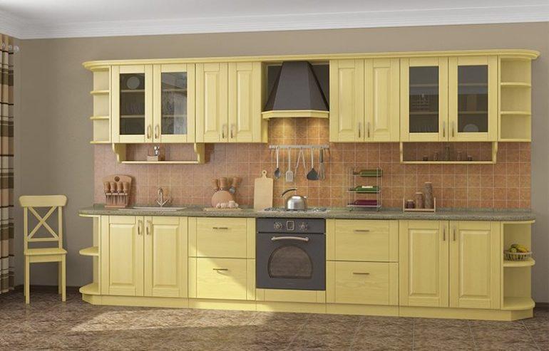 Натуральный деревянный фасад, сделанный из бессучкового мебельного щита, хорошо впишется в кухню классического стиля