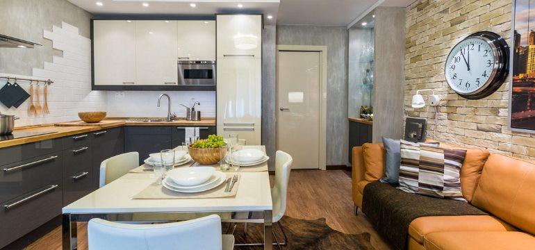 Дизайн кухни-гостиной 14 кв. метров