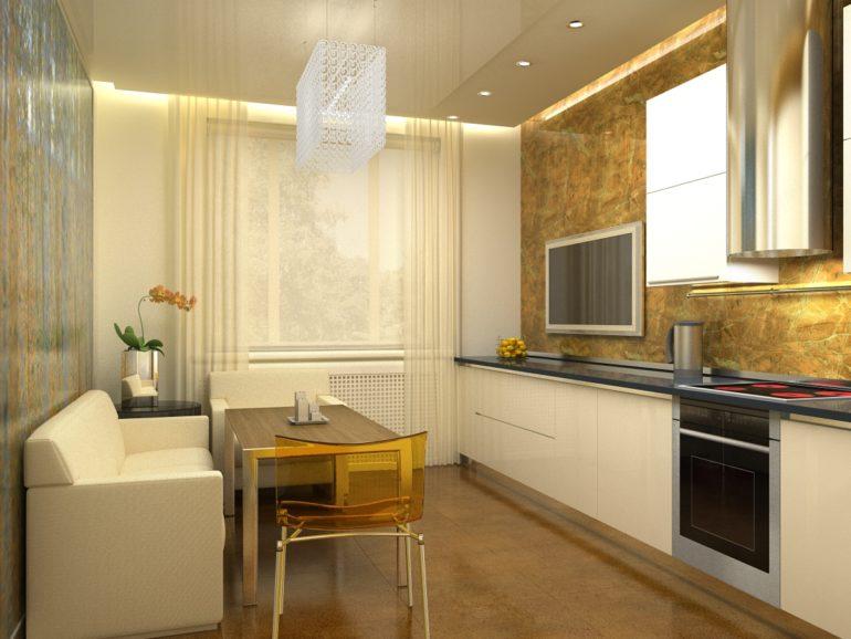 Грамотное планирование каждого квадратного сантиметра кухни-гостиной позволит создать ощущение отнюдь не маленького помещения