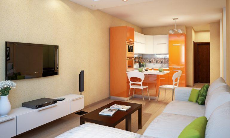 Фото показывают примеры удачного зонирования кухни-гостиной с помощью предметов мебели разных цветов