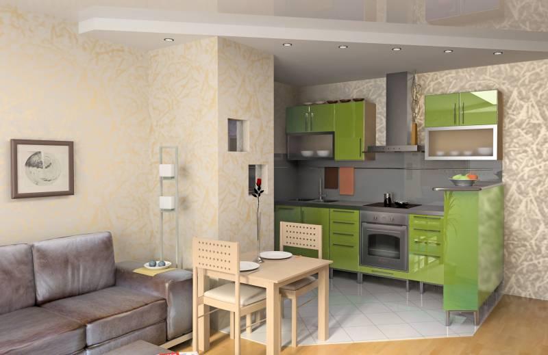 Зеленый гарнитур, серый диван и бежевый столик