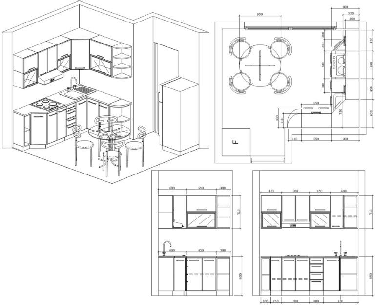 Точный чертеж кухни с размерами и трехмерная перспектива позволят грамотно расставить мебель