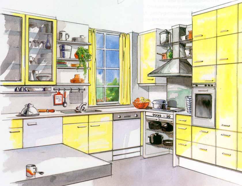 Для подбора оттенков служит цветовой эскиз дизайна кухни