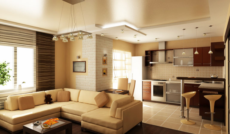 Кухня и гостиная должны визуально отделяться друг от друга и одновременно гармонично сочетаться, образовывая единое дизайнерское пространство