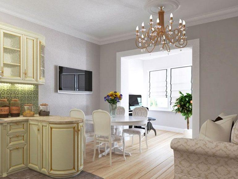 Кухня-гостиная будет казаться больше, если стены и фасады шкафов оформлены в светлых оттенках
