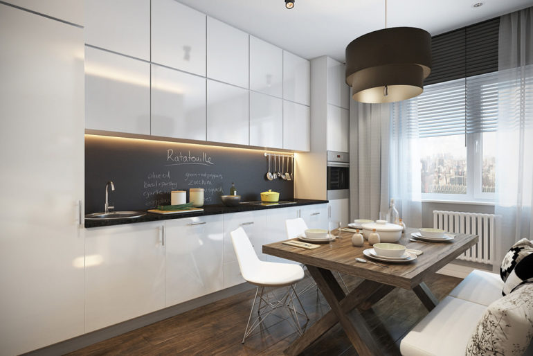 При линейной планировке кухни плиту лучше разместить посередине рабочей зоны, а по краям с двух сторон расположить мойку и холодильник