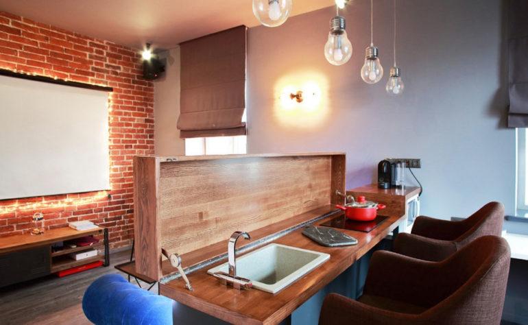 Полуостров может отделять рабочую зону от гостиной или может сам являться местом для приготовления пищи