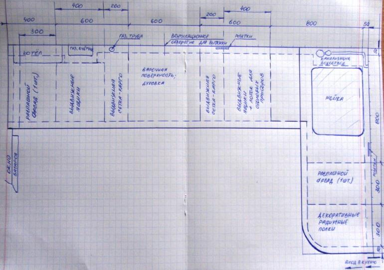 Затем на эскиз наносятся нижние шкафы и места расположения мойки, плиты, духовки и другой техники