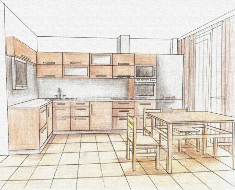 Эскиз кухни позволит правильно спланировать пространство и увидеть дизайн помещения до практического воплощения идеи