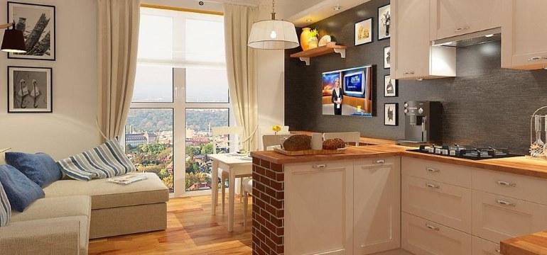 Дизайн кухни-гостиной площадью 15 кв. метров