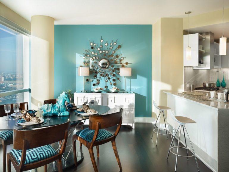Определенный цвет краски помогает разграничить функциональные части кухни