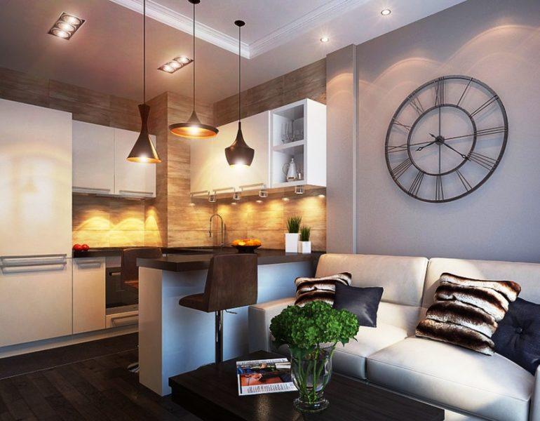 Барная стойка и подвесные светильники в качестве разделителей пространства