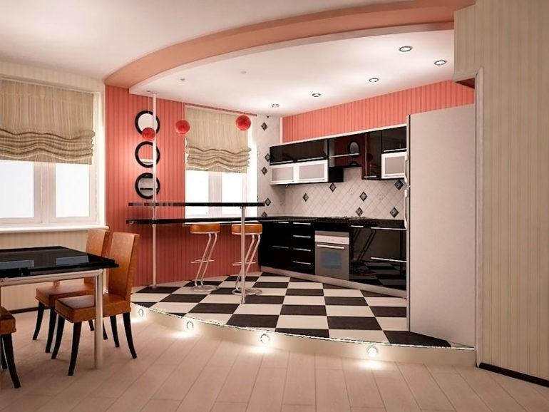 Разделение кухни и гостиной при помощи подиума