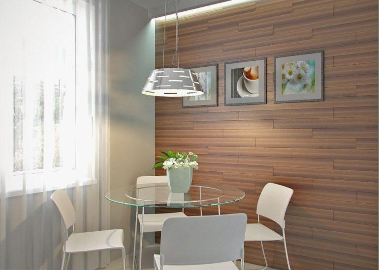 Выделение обеденной зоны с помощью отделки стен