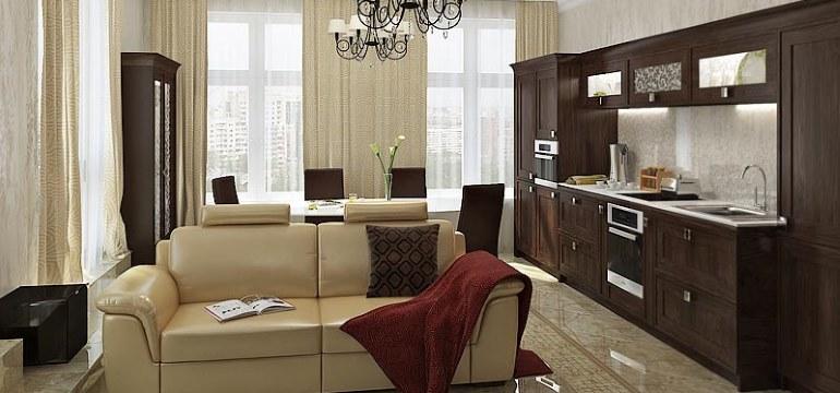 Кухня гостиная площадью 17 квадратных метров