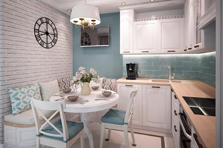 Угловой гарнитур особенно актуален для совмещенных кухонь, так как оставляет место для вместительной обеденной зоны