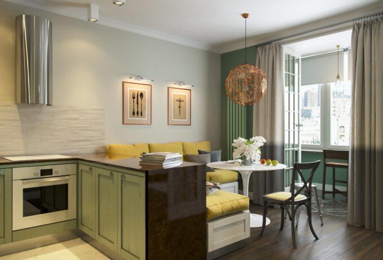 Остров или полуостров на кухне-гостиной 17 кв. м может быть небольшим или должен заменять обеденный стол