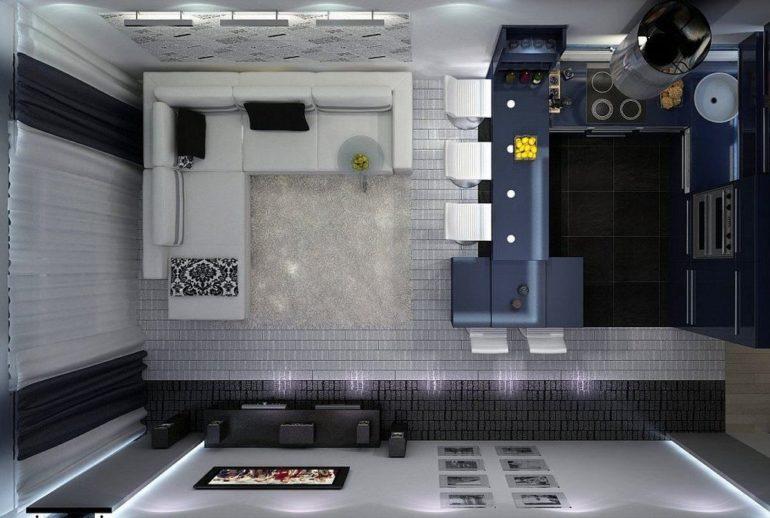 Проект кухни гостиной площадью 20 квадратных метров с диваном и барной стойкой