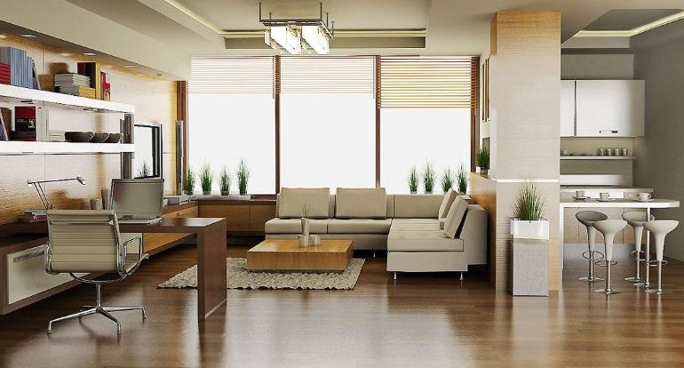 Дизайн кухни-гостиной, совмещенной с рабочим кабинетом