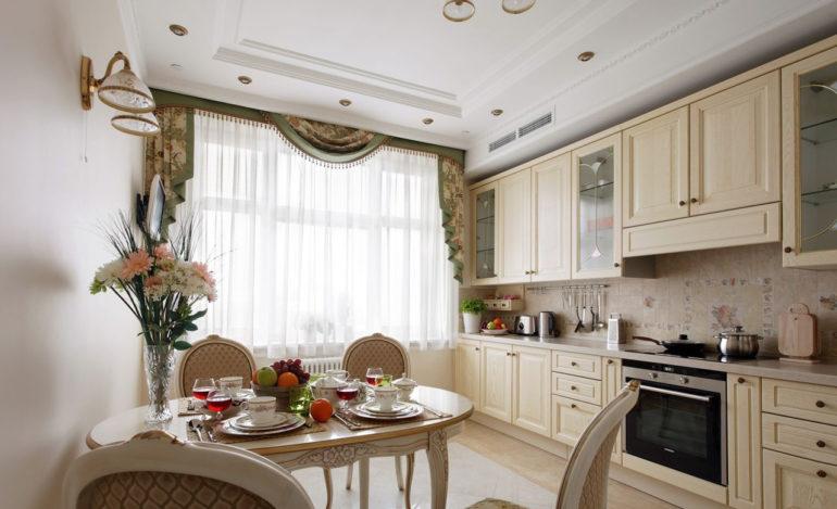 Дизайн достаточно просторной кухни площадью в 14 кв. метров почти не ограничивается в плане выбора планировочных решений