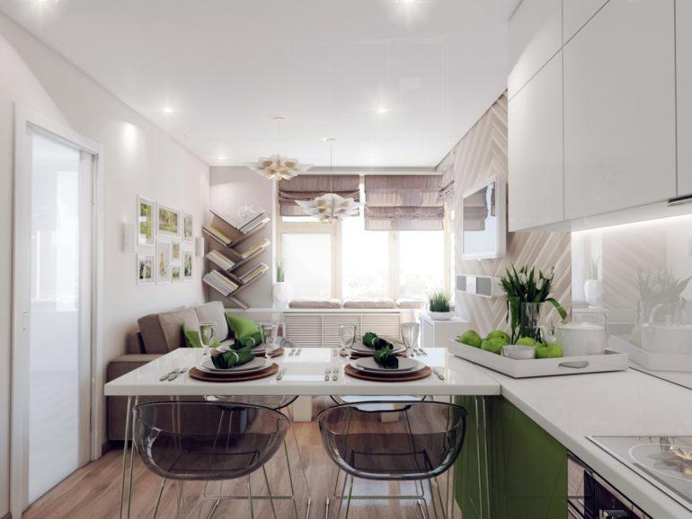 Соединение кухни и гостиной в одно общее пространство преследует цель увеличения полезной площади, на которой можно обустроить светлую и просторную комнату