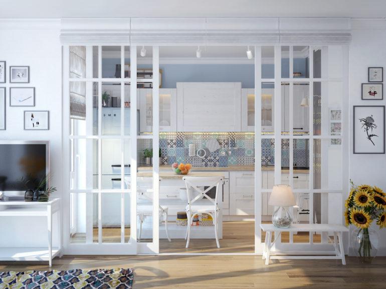 Стеклянная раздвижная перегородка между кухней и гостиной