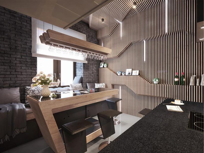 Барная стойка на кухне с авторским дизайном