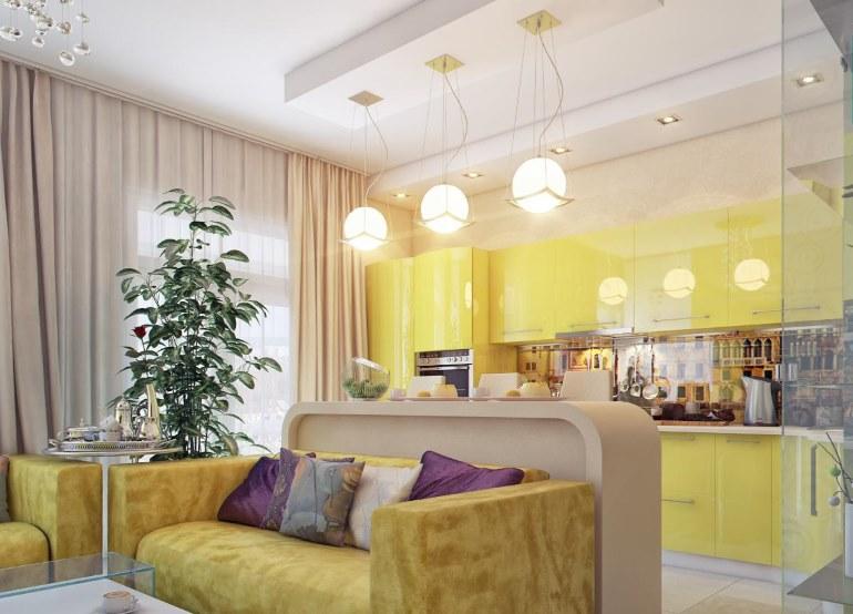 Эти подвесные светильники над барной стойкой также участвуют в разделении пространства кухни-гостиной