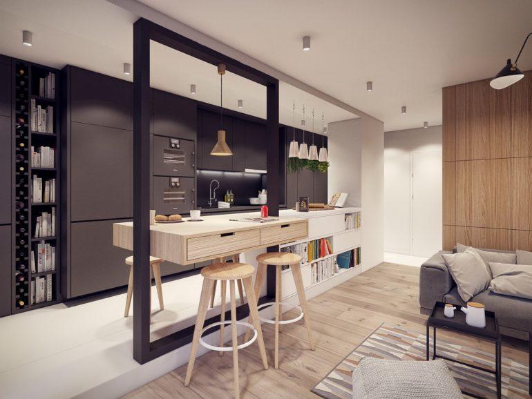 При планировании кухни-гостиной важно определить площадь каждой из зон – это зависит от ваших предпочтений: любите ли вы готовить или предпочитаете быстрые перекусы перед телевизором