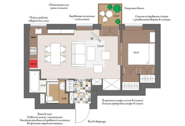 Проект квартиры с кухней-гостиной