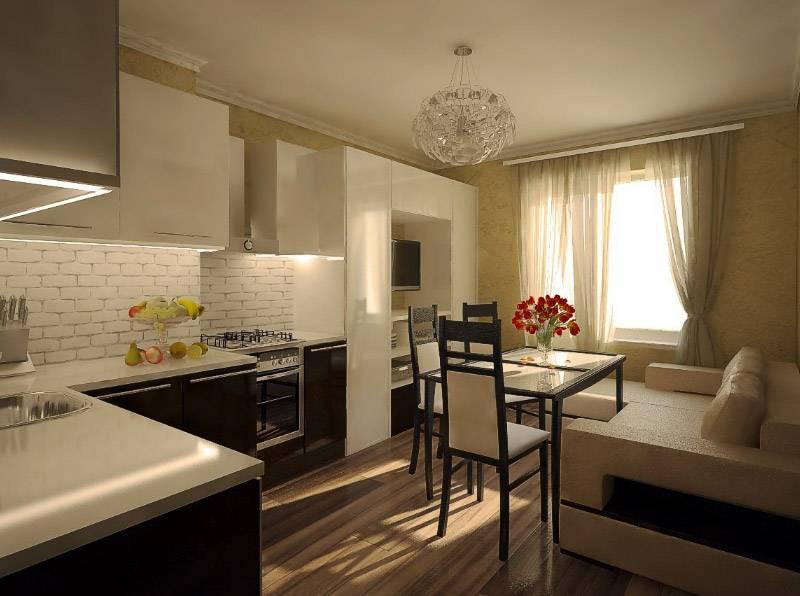 В кухне-гостиной хозяйка во время приготовления обеда сможет смотреть телевизор и общаться с близкими