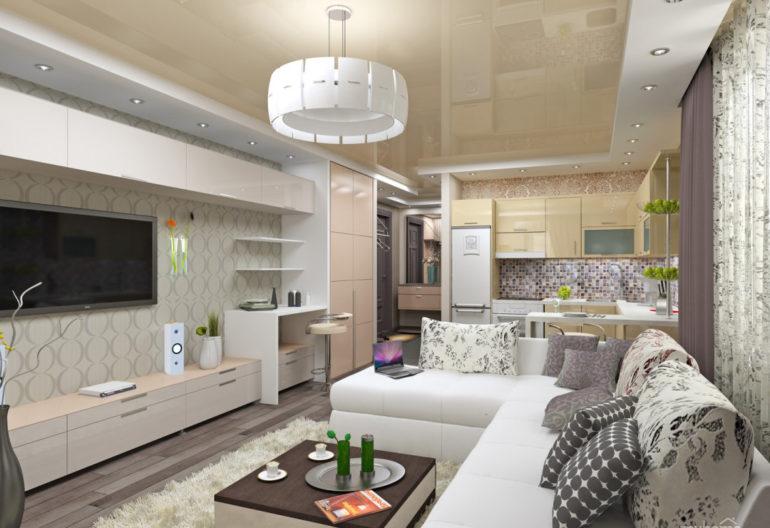 Пример планировки вытянутой комнаты шириной 2,5 метра – угловой диван играет роль разделителя пространства, оставляя при этом достаточно места для прохода