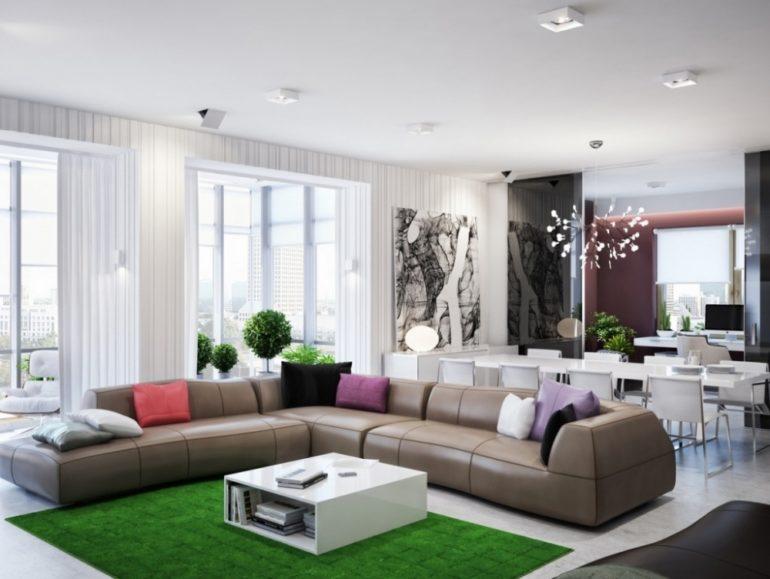 Светлую гамму этого интерьера в стиле модерн отлично дополняет яркий зеленый цвет коврового покрытия