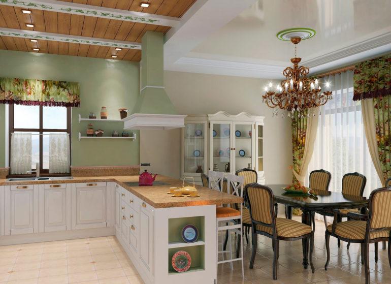 """Кухня-гостиная с островом в стиле """"прованс"""""""