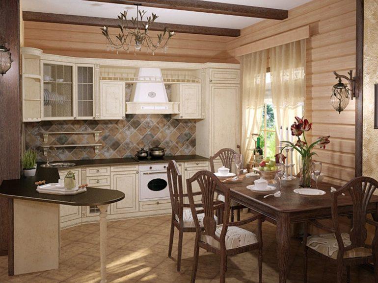 Керамическая плитка на полу в деревянном доме