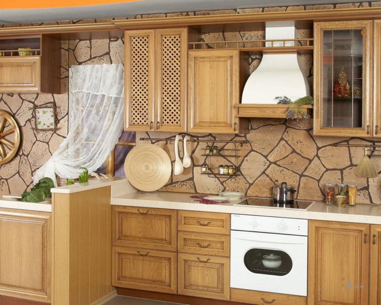 Фартук из натурального камня для кухни