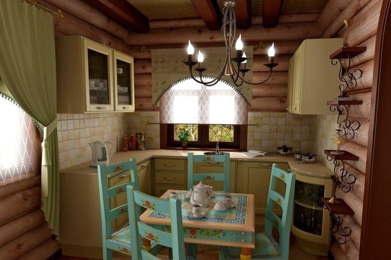 Кухня в стиле прованс в бревенчатом доме