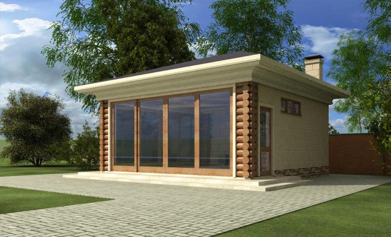 Летняя кухня с капитальными стенами и стеклянным фасадом