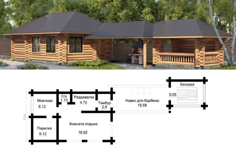 Проект банного комплекса с навесом для барбекю и выделенной беседкой