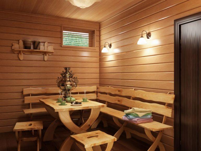 Комната отдыха при бане – обычно это место для чаепития, организованное в смежном помещении или на открытой веранде