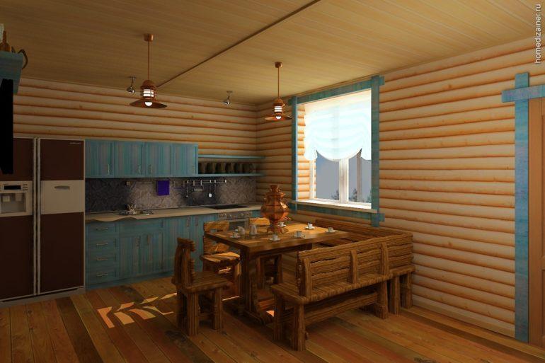 Интерьер простой кухни в бане