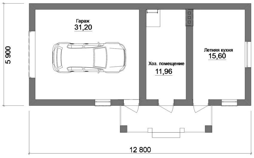 Проект комбинированной дачной постройки с летней кухней, гаражом и подсобным помещением