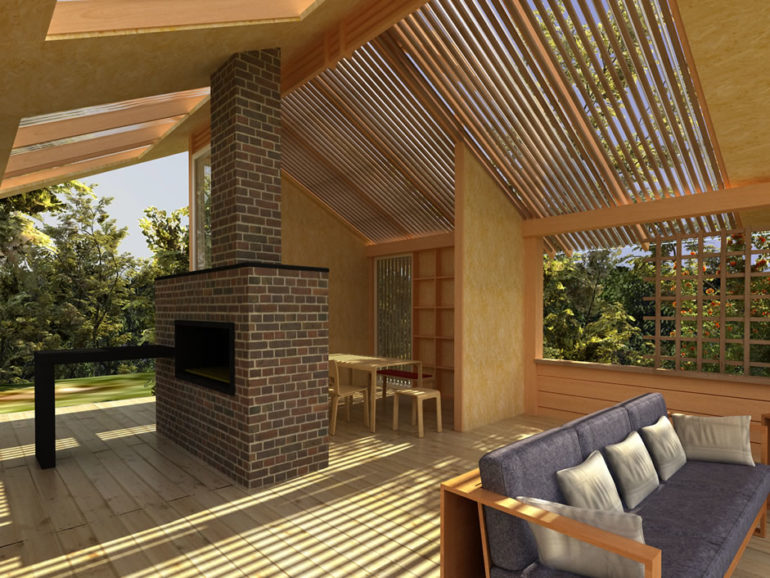 В конструкции летней кухни уместно использовать комбинации камня с деревянными элементами