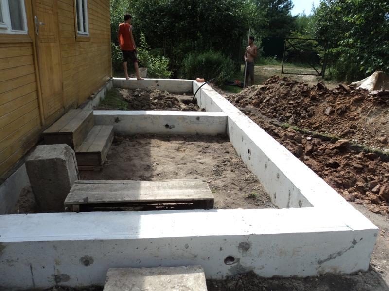 Для постройки с деревянным полом подходит ленточный или столбчатый фундамент