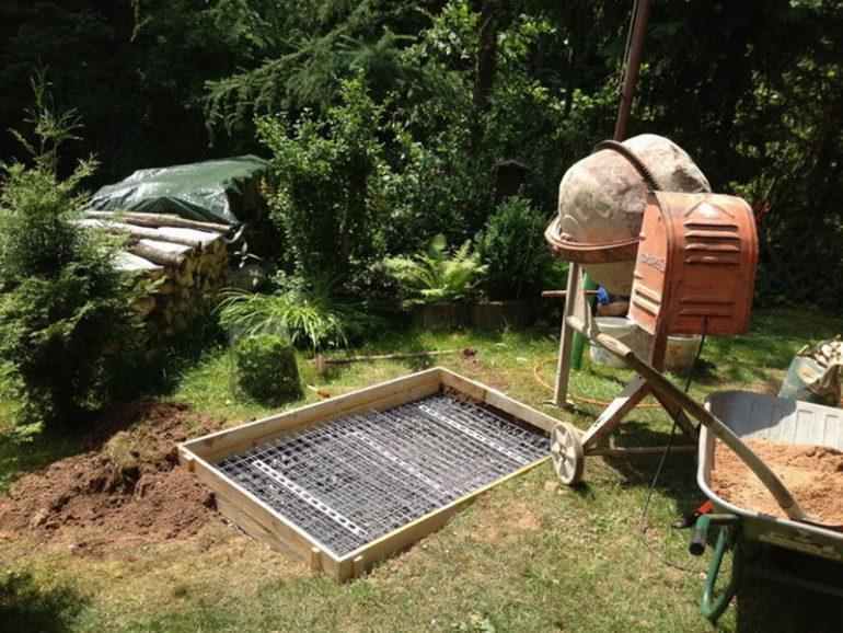 Заливка бетоном основания для печки