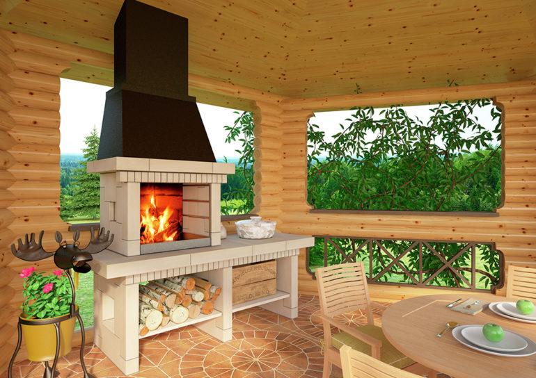Кирпичная печь с барбекю для летней кухни внешне похожа на открытый камин, топка которого расположена примерно на уровне пояса
