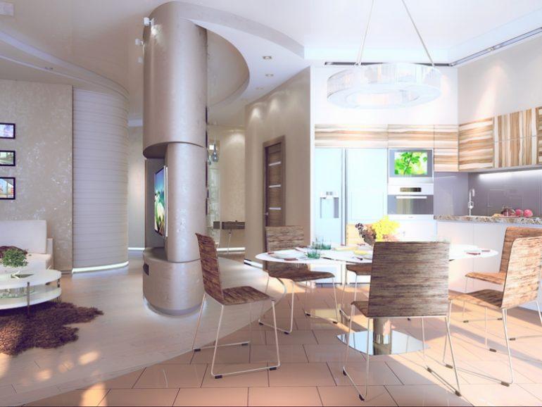Визуально увеличить кухню можно, подбирая отделку стен и мебель светлых оттенков: бежевого, нежно-голубого или салатового