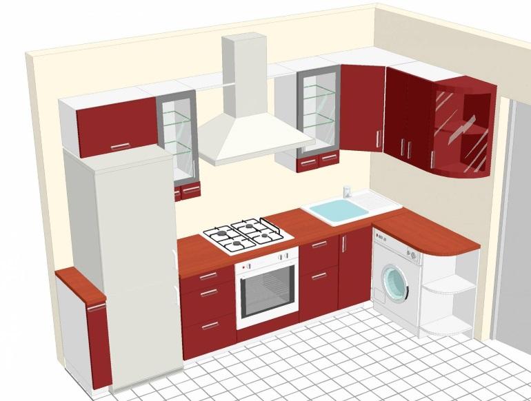 Проект для кухни в хрущевке с угловой планировкой гарнитура